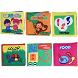 AFfeco 6Pcs Baby Toys Multi-Color Soft Infant Toys Squeaky Cloth Book For Kids Interactive Funny Toys