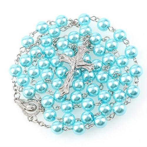Rosario con perlas azules bisuteria 56 cm