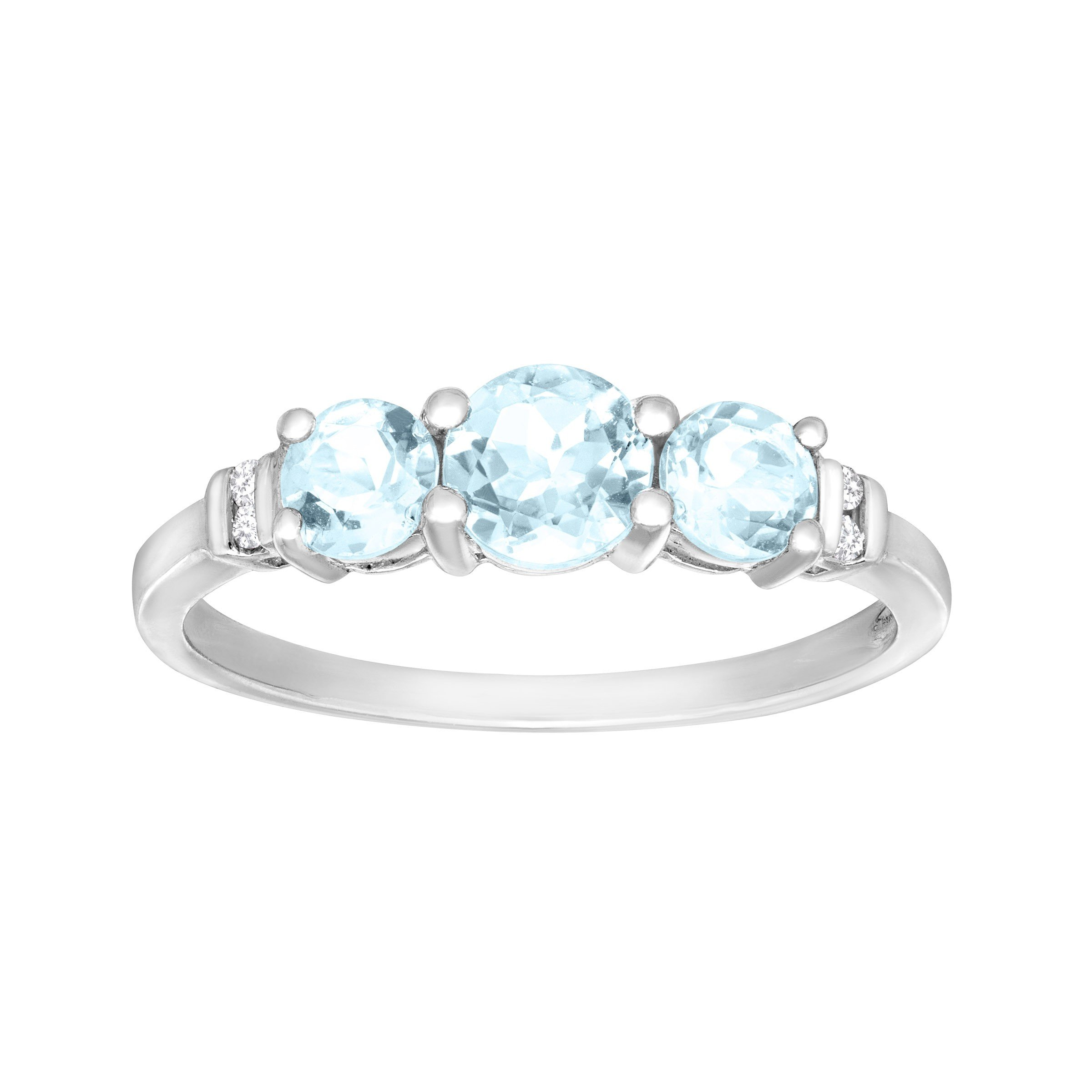 7/8 ct Aquamarine Ring with Diamonds in 10K White Gold Size 7