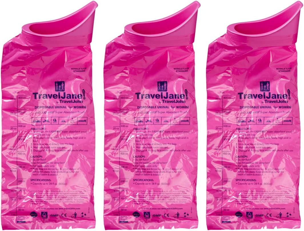 Travel Jane Emergency Bathroom Kit for Women - Portable Urinals for Traveling, Camping, Hiking - Odorless, Hygienic, Non-Toxic, Disposable (1pk - 18 Count)