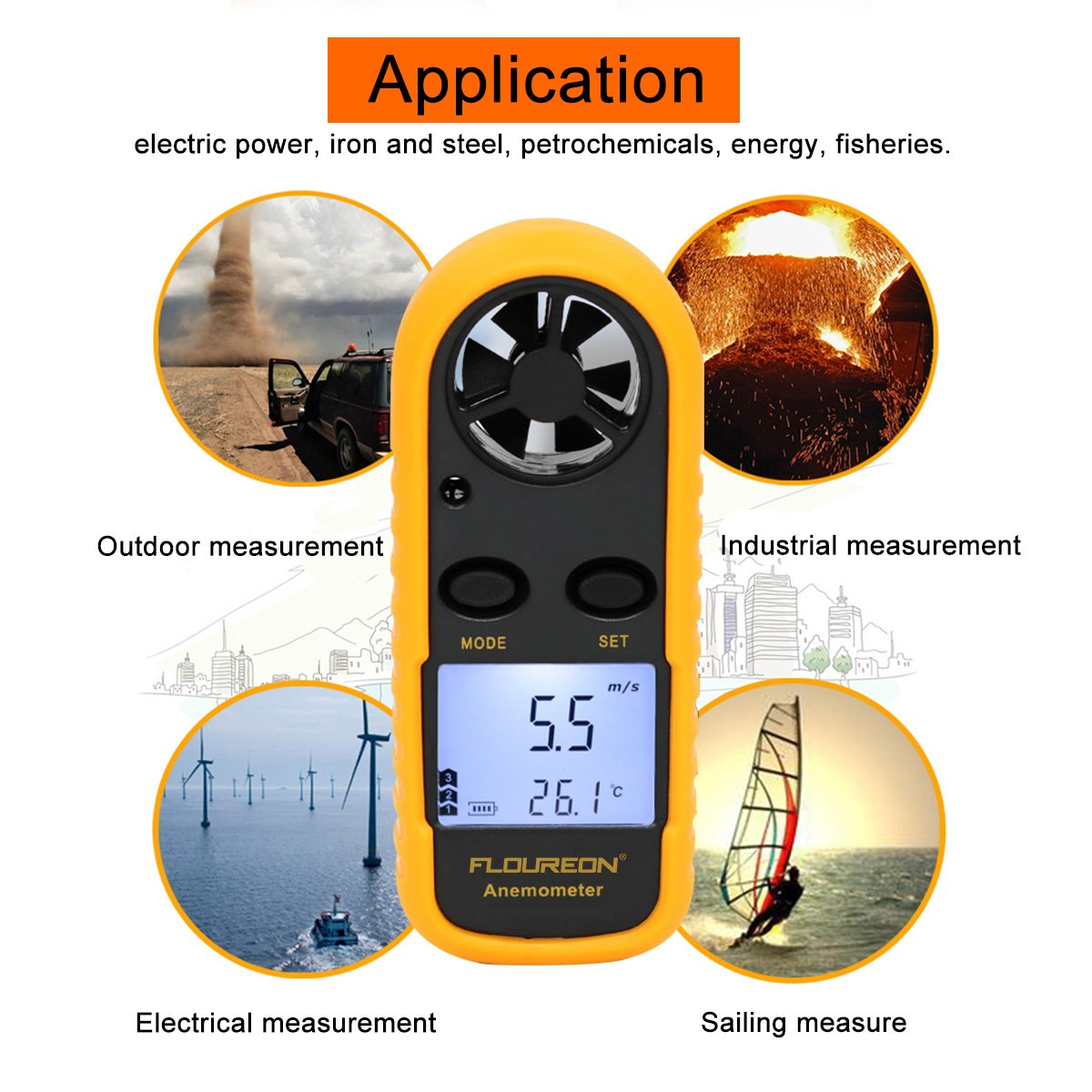 FLOUREON Digital Anemometer Handheld Wind Speed Meter with Backlit LCD Display /& Battery Etc. Flying Drone Measuring Wind Speed Air Flow and Air Temperature Accurately for Sailing Flying Kites
