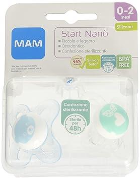 Mam Start Nano, chupetes de silicona, 0-2 meses, paquete de 2 piezas
