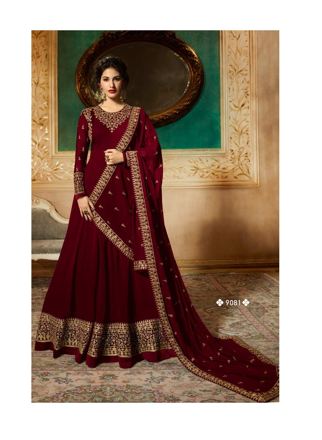 Delisa Indian/Pakistani Bollywood Party Wear Long Anarkali Gown for Womens NG (Maroon, X-LARGE-44)