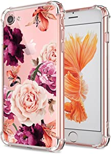 iPhone 7 8 SE 2020 Case Clear with Cute Flowers Design Shockproof Bumper Protective Cell Phone Back Cover for Girls Women Flexible Slim Fit Pink Rose Floral for Apple iPhone 7 iPhone 8 iPhone SE 2020