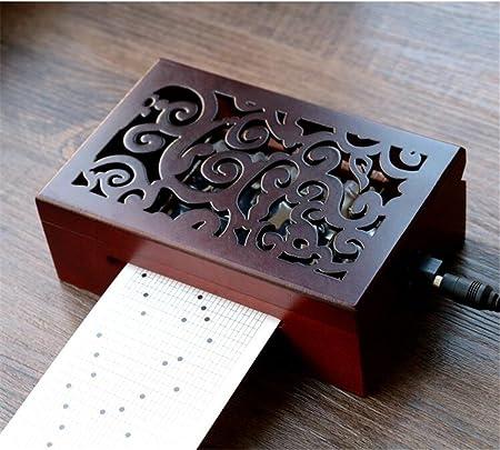 cuzit envejecido Vintage grabado de madera caja de música caja Musical de 30 notas movimiento eléctrica