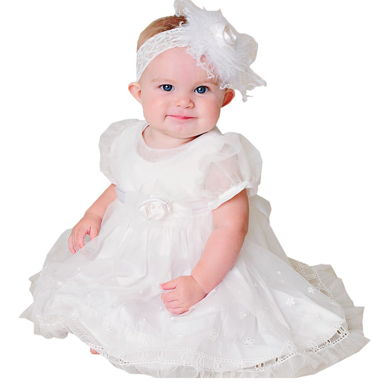 Fenghuavip Scoop Tulle Baby Girl's Christening Gowns White(18-24 Months)