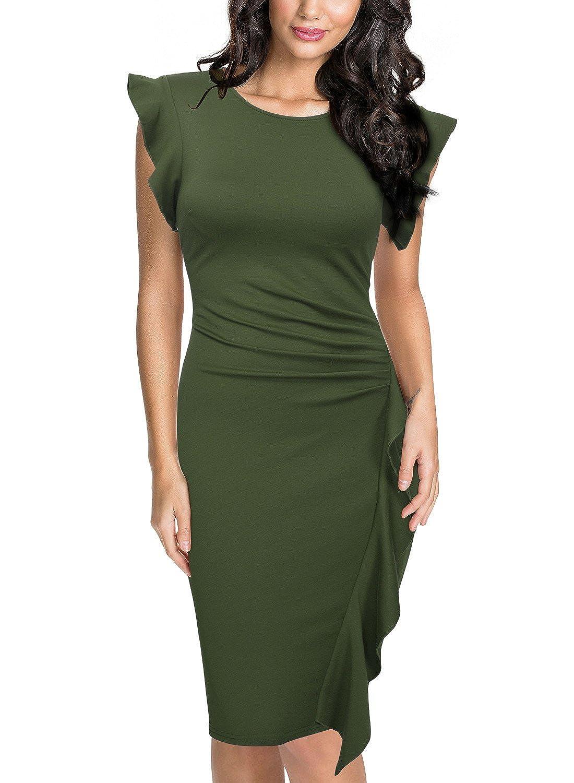 TALLA EU 44/46(Large). Miusol Casual Slim Fit Coctel Vestido de Lápiz para Mujer Verde EU 44/46(Large)
