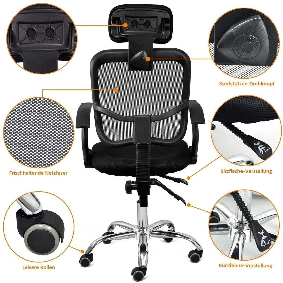 TcooLPE dator kontorsstol justerbar svängbar uppgift stol armstöd, höjd justerbar, 360 ° vridbar mjuk sits nät hög rygg hem kontor (färg: Orange) BLÅ