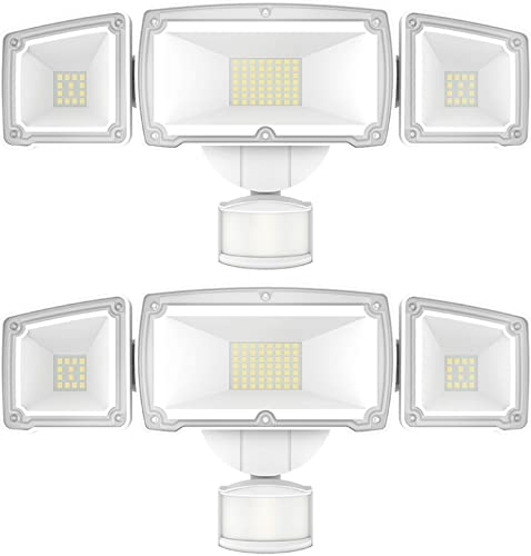 Sunco Lighting 2 Pack LED Security Light with Motion Activated Sensor PIR Auto On-Off Dusk-to-Dawn , 3 Head White Outdoor Fixture, 38W, 5000K Daylight, 3600 LM, Waterproof – ETL