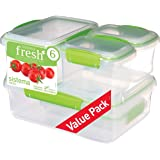 Sistema 951760 Fresh Collection 12 Piece Set Food Storage Containers, Clear/Lime Green