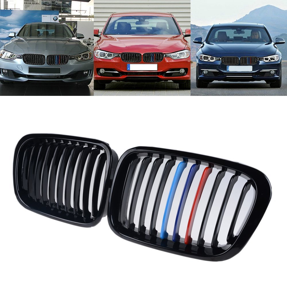 Single, Matte Black Euro Style Front Upper Kidney Grille Grill LH RH Replacement for BMW Car E46 3 Series 320 325 330 4 Door 2002-2005 02