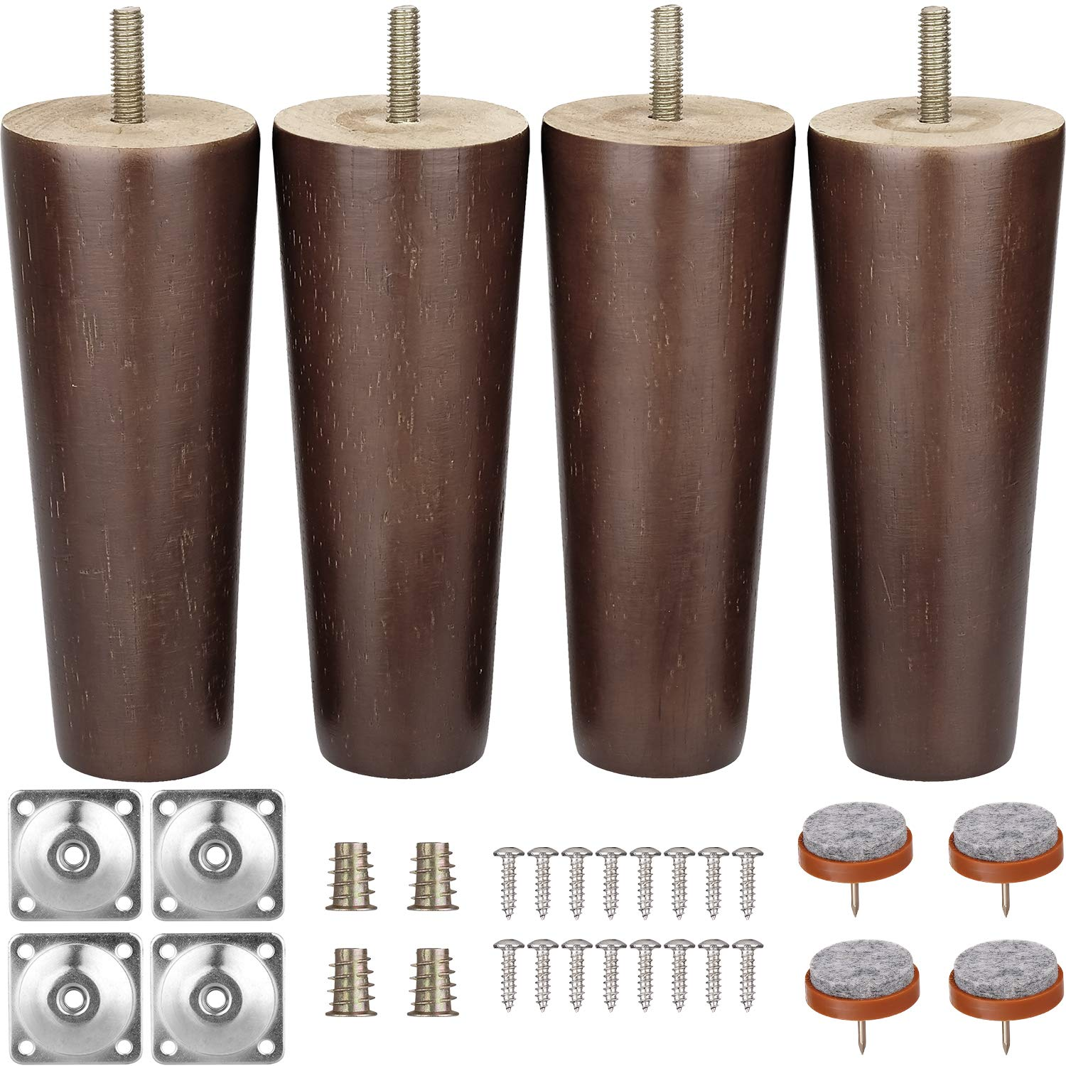Furniture Legs 6 Inches Sofa Legs Mid Century Modern Walnut Wood Furniture Feet Replacement Legswith Leg Mounting Plates & Felt Protectors for Sofa Cabinet Couch Ottoman Coffee Table Bench Chair
