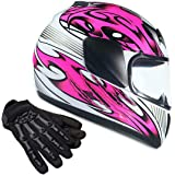 Youth Kids Full Face with Shield Helmet & Gloves Combo Motorcycle Street Dirtbike MX - Pink