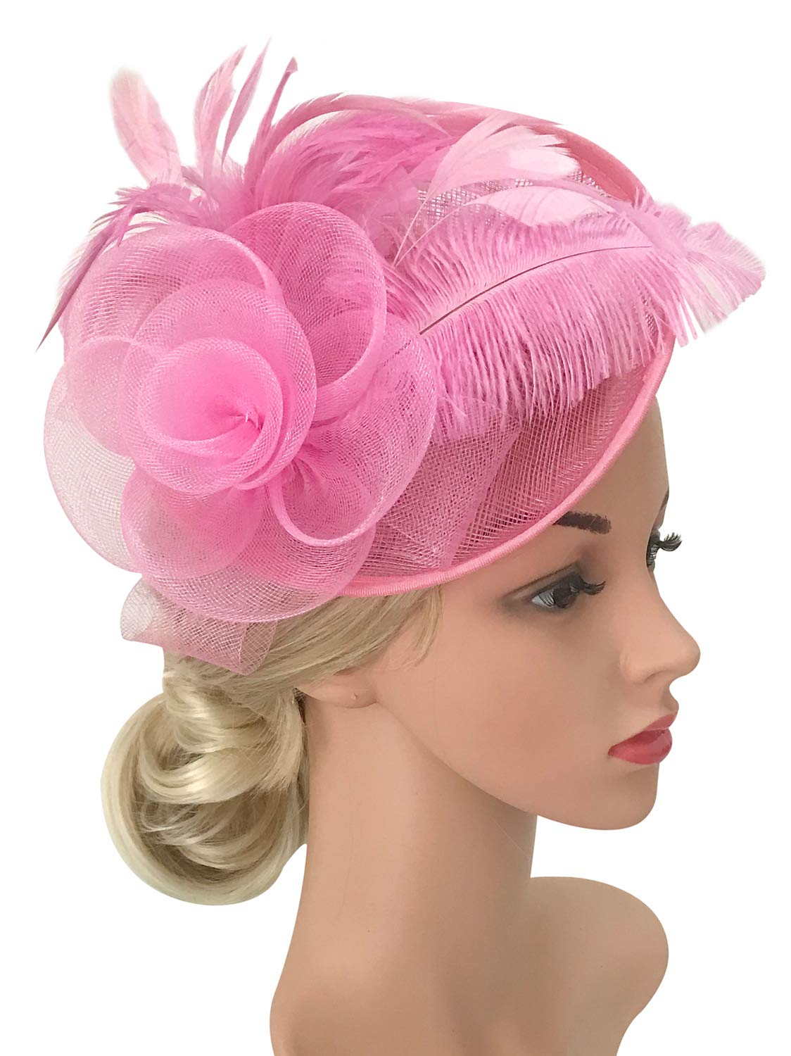 Z&X Sinamay Fascinator Feather Mesh Flower Derby Hat with Clip and Headband 17-0302028