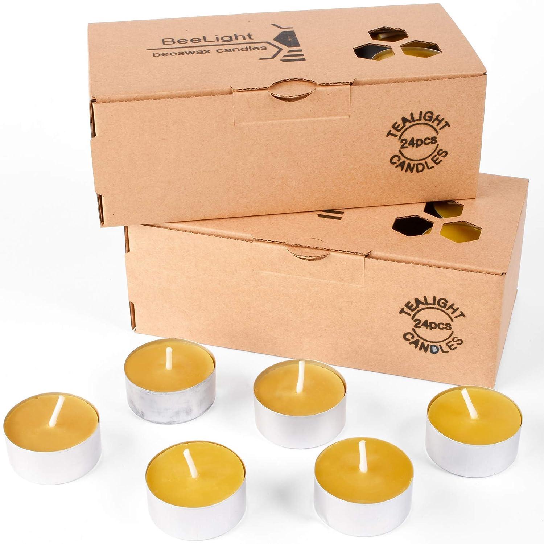 24 pcs 100/% Pure Natural Beeswax Tea Light Candles Handmade Free Shipping!