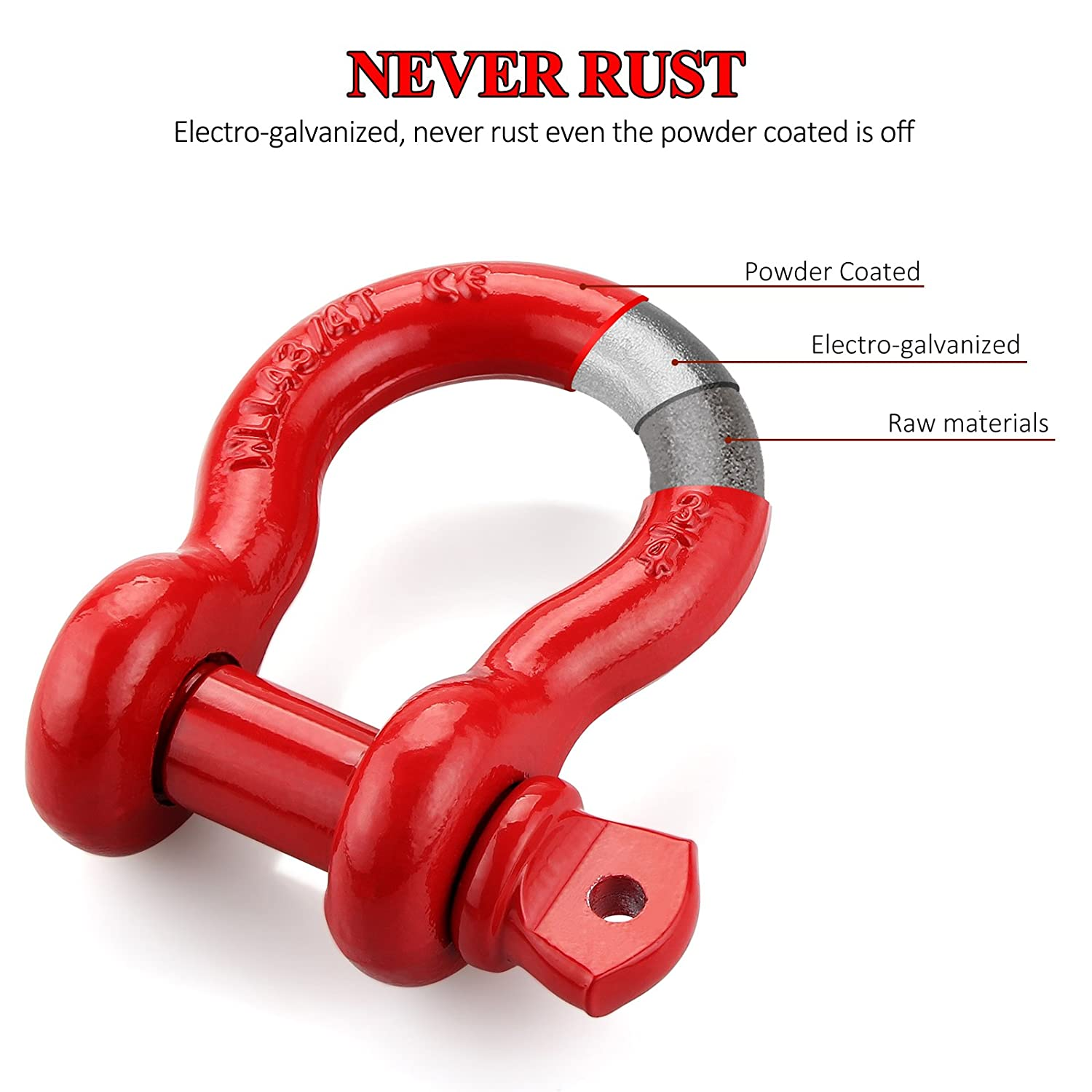 Maximum Break Strength with 7//8 Pin Bow Screw Heavy Duty D Ring for Jeep Vehicle Recovery Red 2 PACK LIBERRWAY D ring Shackle Rugged Unbreakable 28.5 Ton 57000 Lbs Shackles 3//4