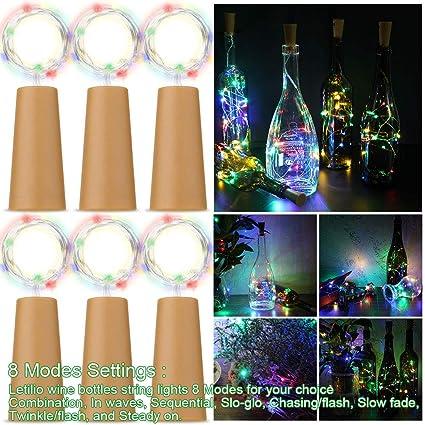 Letilio Botellas de vino Luces de cuerdas 8 modos de destellos, 6 paquetes Micro línea de plata de corcho artificial Luces estrelladas de hadas, ...
