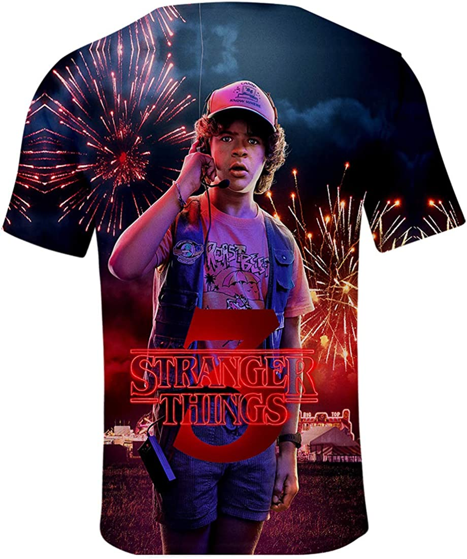 PANOZON Stranger Things T-Shirt 3D Stampa Figura di Stranger Things Nuova Stagione Maglietta per Uomo Top