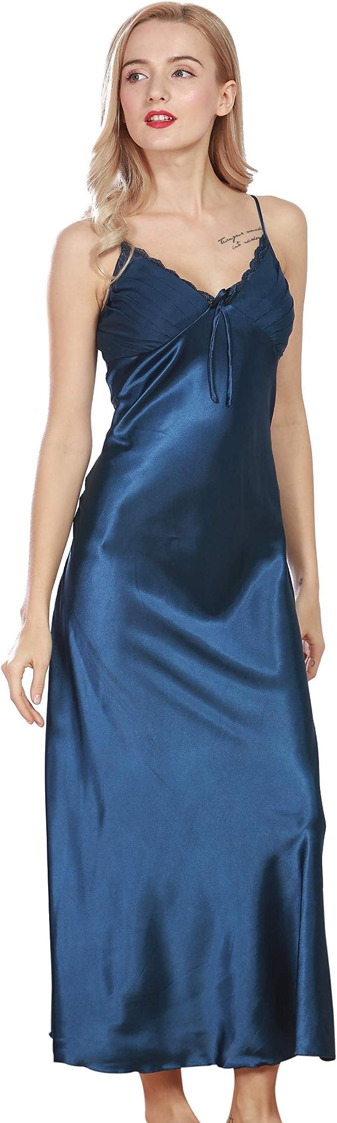 Vintage Inspired Slips Curve Bay Womens Silk Satin Elegant Long Nightgown Pajamas Sleepwear Spaghetti Strap Robe  AT vintagedancer.com