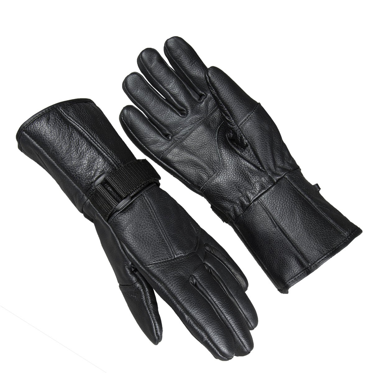 Raider Black Leather Gauntlet Motorcycle Riding Gloves for Men and Women (Size Medium)