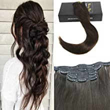 Sunny 22inch Seamless Hair Extensions Clip In Skin Weft Clip In Hair Extensions Color #2 Darkest Brown Hair Extensions Human Hair 7pcs 120g Per Set