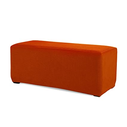 Phenomenal Subrtex Stretch Storage Ottoman Slipcover Spandex Elastic Rectangle Footstool Sofa Cover For Living Room Large Orange Machost Co Dining Chair Design Ideas Machostcouk
