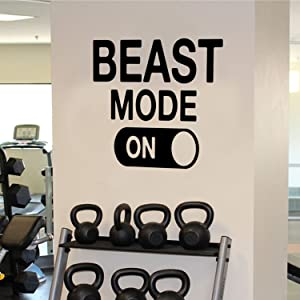 "Beast Mode Motivational Gym Wall Art Decal Quote - 22"" x 22"" Decoration Vinyl Sticker-Black"
