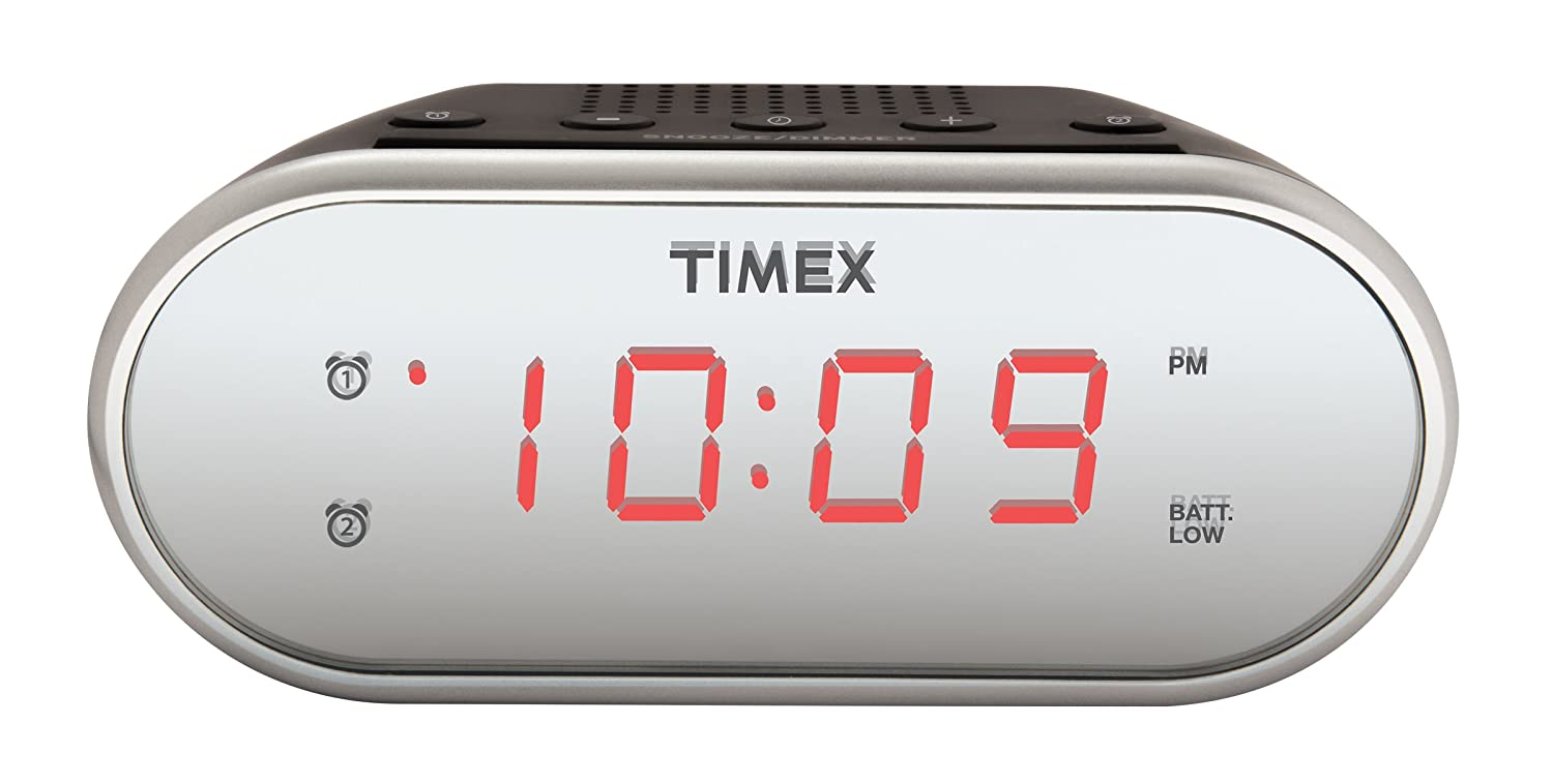 Timex T121S Alarm Clock with 0 7-Inch Red Display (Silver)