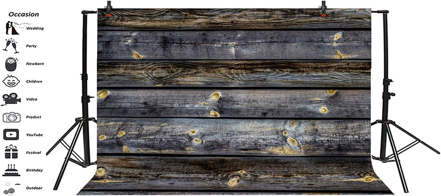 Polyester 8x6ft Grunge Grimy Lateral-Cut Wood Texture Plank Photography Background Shabby Rustic Wooden Board Backdrop Children Adult Pets Personal Portrait Shoot Countryside Studio