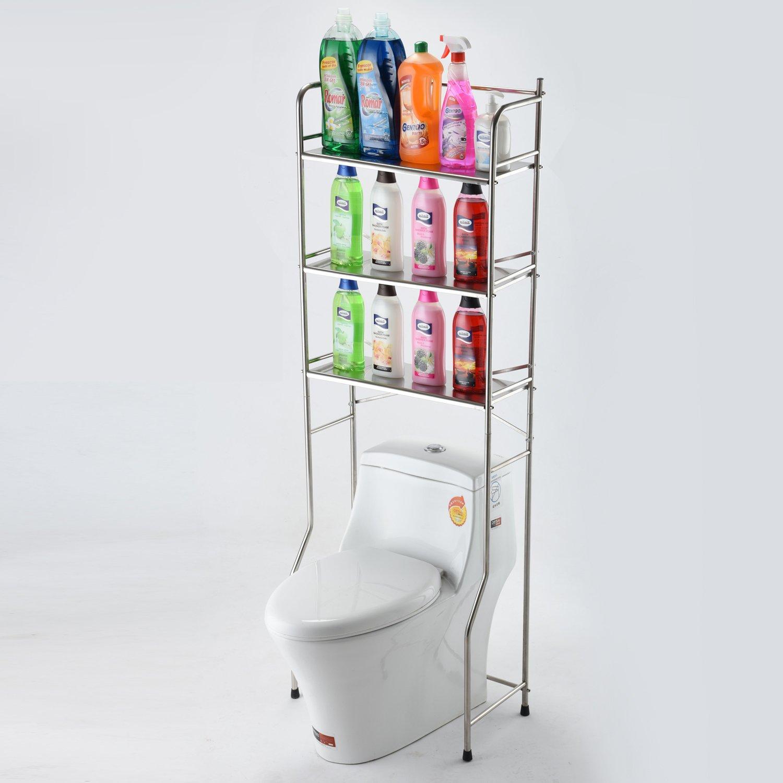 DEKDEJIA Bathroom Shelf 3-Tier Stainless Steel Toilet Towel Storage Rack Holder,Space Saver Over Bathroom Shelf Organizer