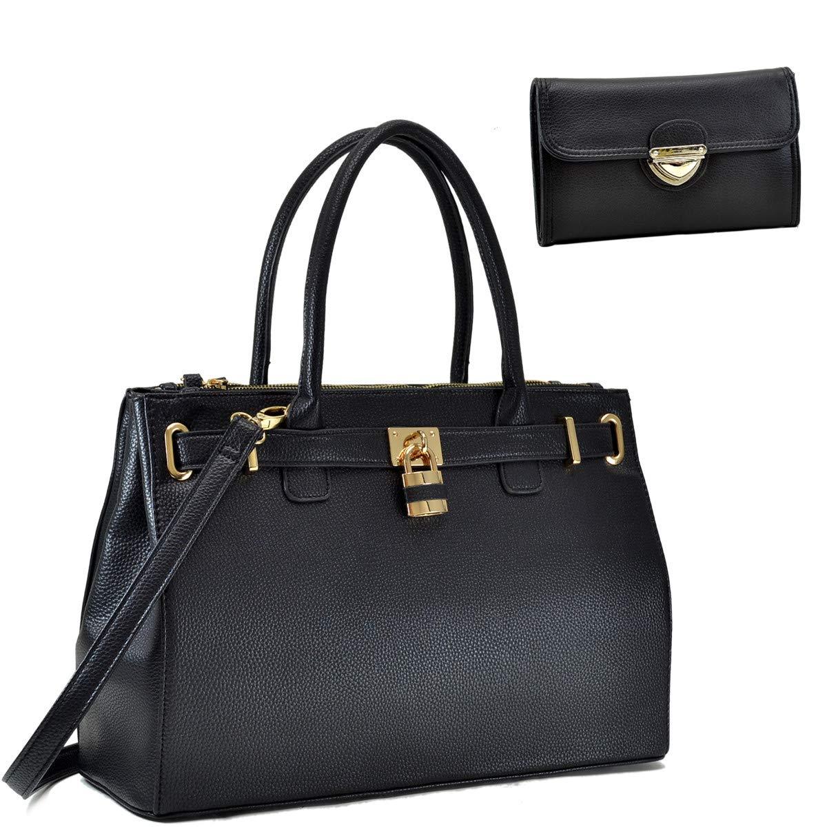 Dasein Women's Top Handle Satchel Handbags Tote Designer Purse Padlock Shoulder Bag