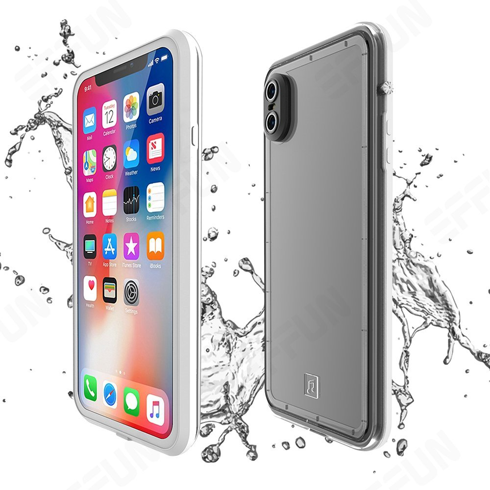 Effun iPhone X Waterproof Case, IP68 Certified Waterproof Shockproof Dirtproof Snowproof Case Fully Sealed Underwater Cover with Built-in Screen Protector for iPhone X Black/White/Pink/Aqua Blue