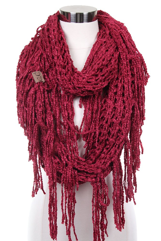 ScarvesMe CC Knitted Double Loop Circle Infinity Scarf with Fringe (Burgundy)