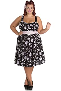 c0c813cc7b9 Hell Bunny Plus Size Kawaii Cute Cat Kitten   Flower Print Belted Party  Dress Black