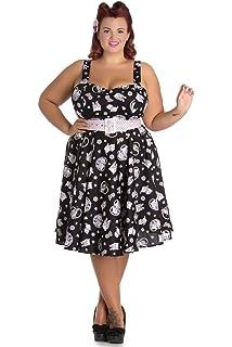 ba840adcb2e27 Hell Bunny Plus Size Kawaii Cute Cat Kitten & Flower Print Belted Party  Dress
