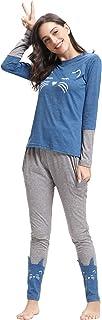 Aibrou Damen Baumwolle Katze Patchwork Pyjama Set, Zweiteiliger Langarm Schlafanzug