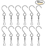 SINGARE Swivel Clip Hanging Hooks Stainless Steel for Hanging Wind Spinners Wind Chimes Crystal Twisters Party Supply-12 Pack