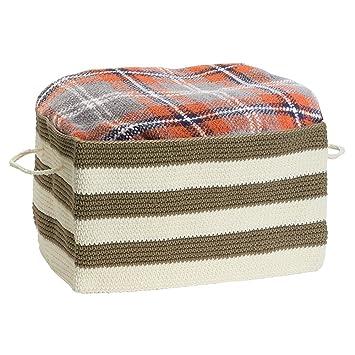 mDesign - Recipiente organizador tejido, para el armario; guarda ropa, toallas, carteras de mano, sábanas, ropa blanca - Kaki/marfil: Amazon.es: Hogar