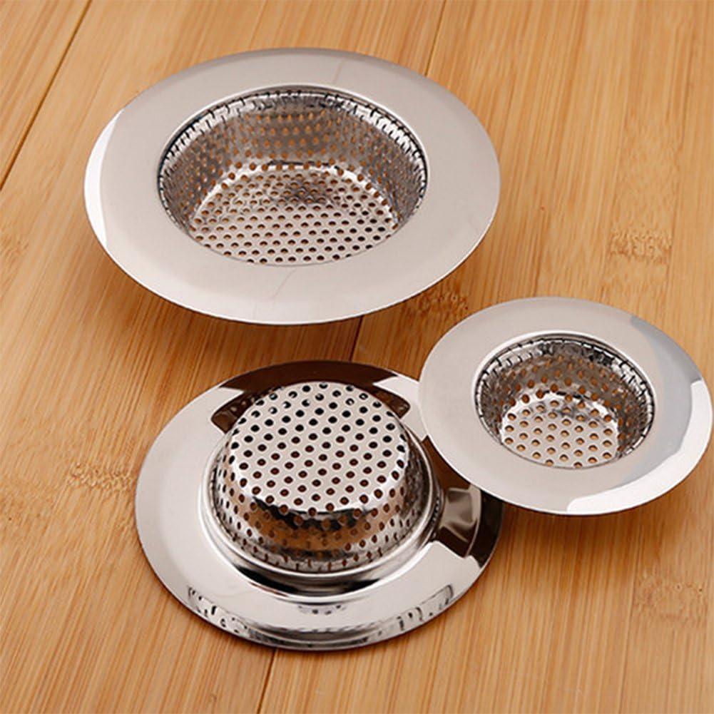 2/Unidades Kentop Desag/üe Colador Acero Inoxidable Cocina Fregadero Ducha Ba/ñera Desag/üe Fregadero Filtro para Ba/ño y Cocina 7 cm Plata Acero Inoxidable