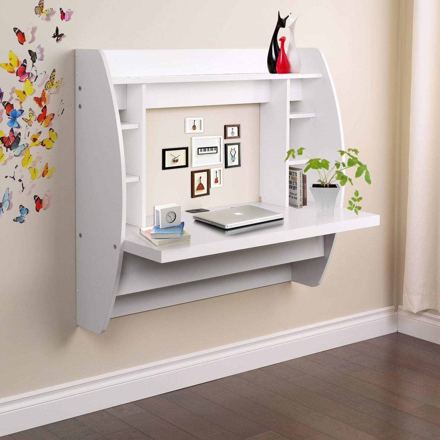 Prountet Home Office Computer Desk Table Floating Wall Mount Desk W/Storage Shelves White by Prountet