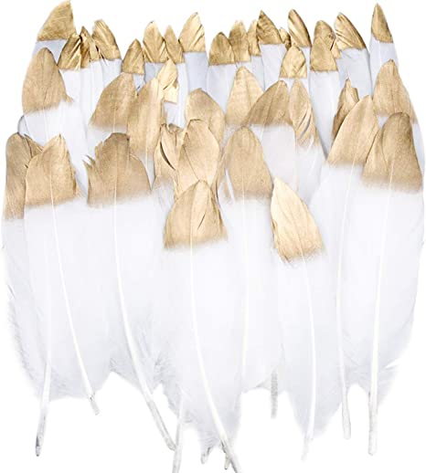 """Large Silver Glitter Dipped White Feathers 6-8/"""" Great for weddings crafts decor"""