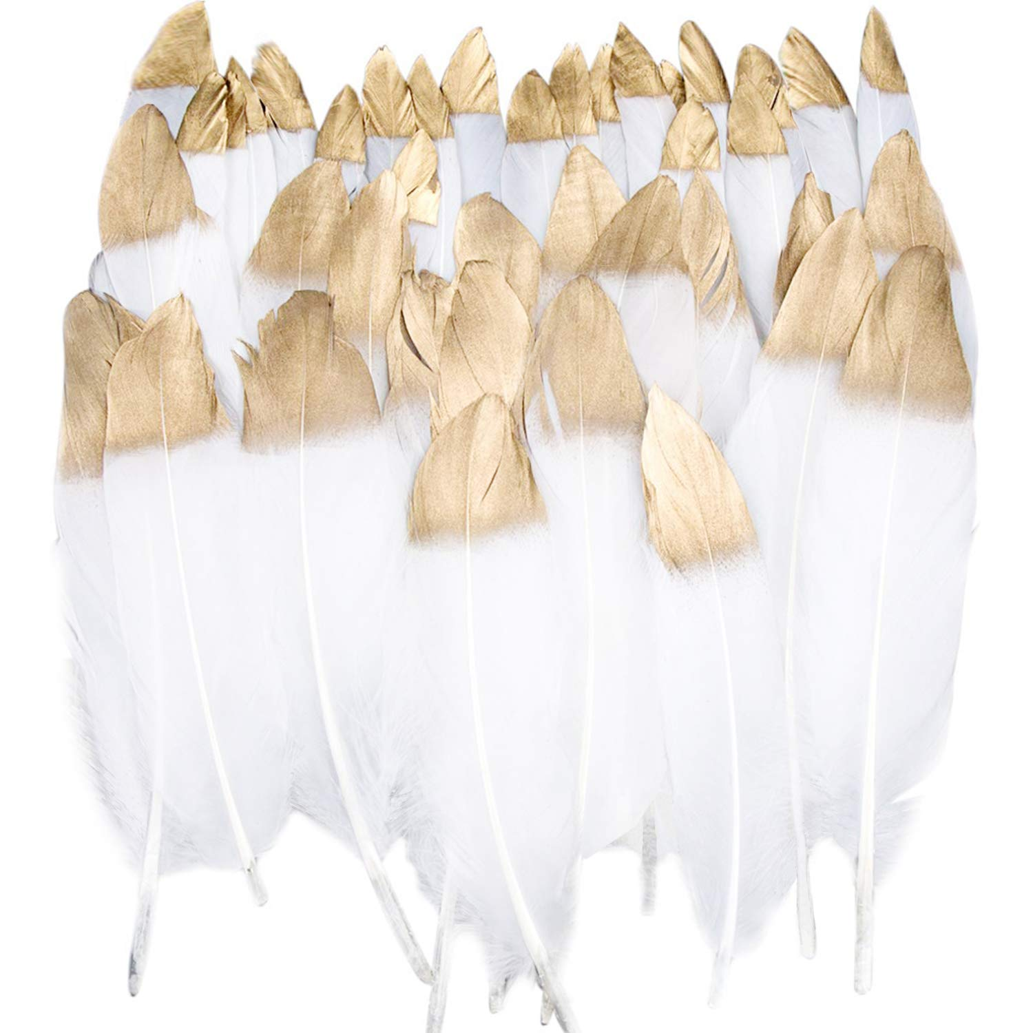 Benvo 40 Pcs Gold Dipped White Feathers 6-8 Inch Natural Feathers for Any Crafts Projects Feather Garlands Boho Bohemian Décor Nursery Home Bedroom Wall Decorations Party and Dream Catcher Supplies
