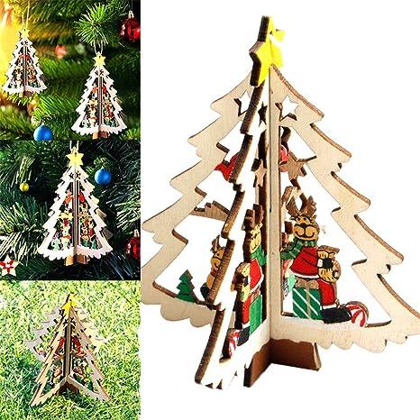Bola Decoración Casa Árbol Navidad Vero madera 3d Ornamento renos navideños