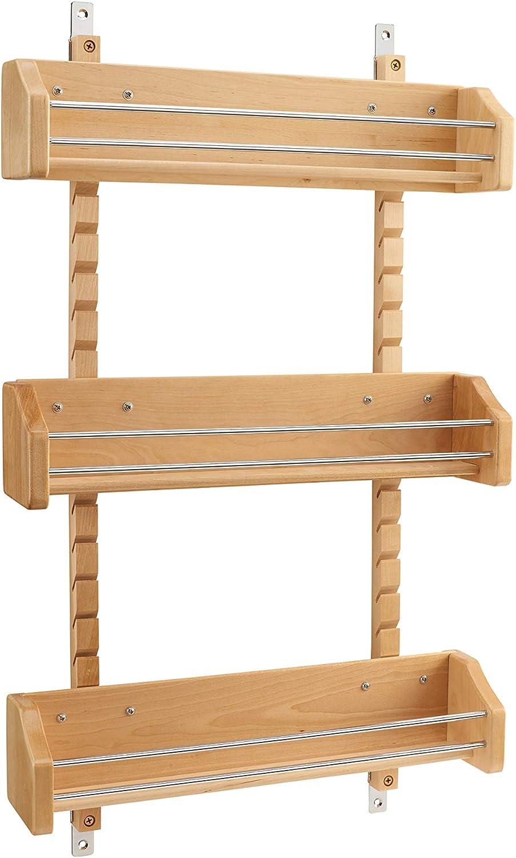 Rev-A-Shelf - 4ASR-21 - Large Cabinet Door Mount Wood Adjustable 3-Shelf Spice Rack