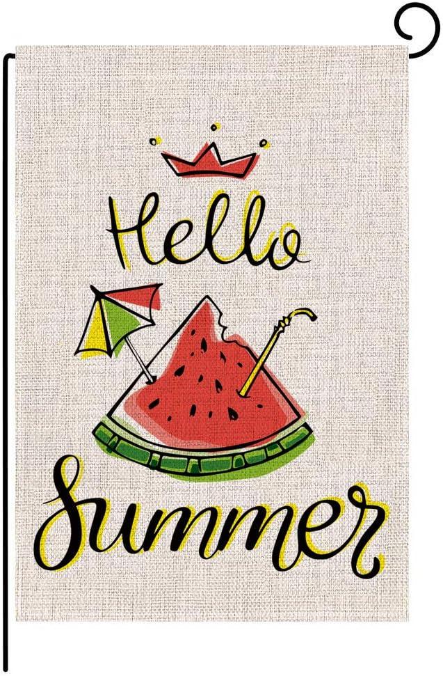 Keniot Hello Summer Watermelon Double Sided Burlap Garden Flag, Seasonal Summer Outdoor Funny Decorative Flags for Yard Outdoor Decor, 12.5 x 18.5 inch