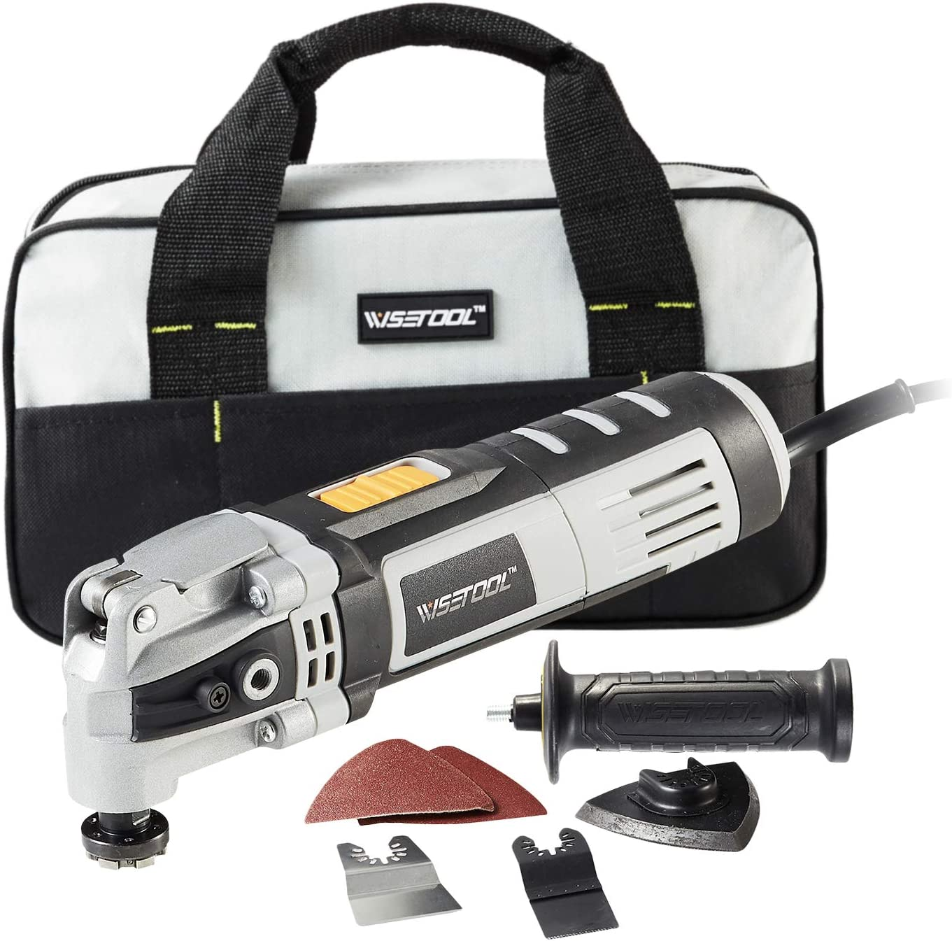 WISETOOL 400W 3.5 Amp Oscillating Multi Tool Kit with 4.5° Oscillation Angle,6 Variable Speed Oscillating Saw with Quick Blade Change System for Cutting,Sanding,Grinding