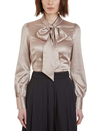 5bde6eafe70b HAWES & CURTIS Womens Fitted Satin Pussy Bow Elegant Smart Casual Blouse,  Taupe, ...