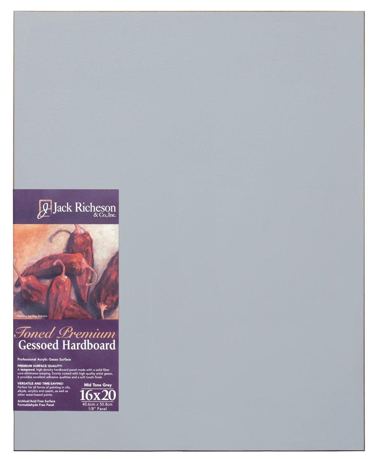 Jack Richeson Richeson Mid Grey Toned Gessoed 1/8'' Hardboard 16''x20'' by Jack Richeson