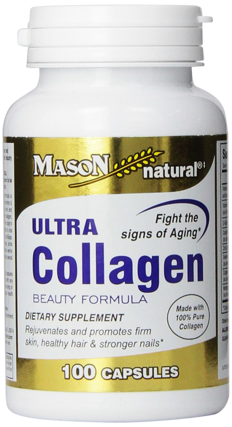 Mason Natural, Ultra Collagen Beauty Formula Capsules, 100-Count Bottle, Dietary Supplement