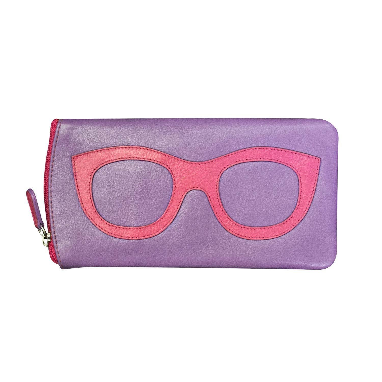 ili New York 6462 Leather Eyeglass Case (Amethyst/Hot Pink)